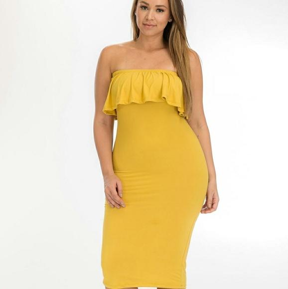 Mustard Plus Size Ruffle Tube Dress Boutique
